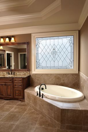 Traditional Master Bathroom with Custom Decorative Glass, Paint