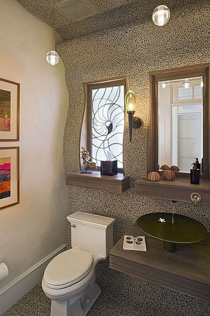 Eclectic Powder Room with Wall sconce, Pendant light, Wall mounted sink, Custom stained glass window, specialty door