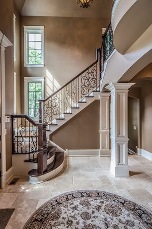 Traditional Staircase with High ceiling, Hardwood floors, Paint, Home depot - ms international honed travertine floor tile