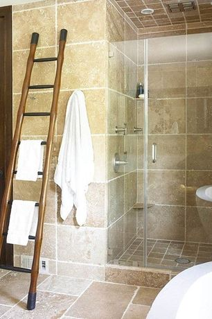 Modern Master Bathroom with Etsy - wooden ladder, towel rack, can lights, travertine tile floors, travertine tile showerbath
