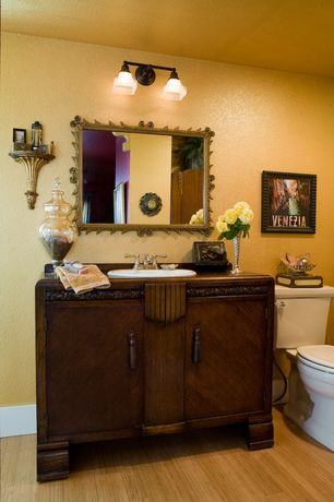 Eclectic Powder Room with Home legend - vertical toast solid bamboo flooring, Bamboo floors, Flat panel cabinets, Powder room