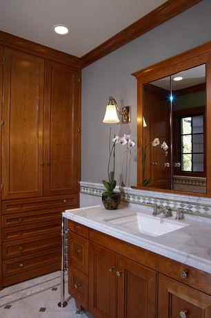 Traditional 3/4 Bathroom with Ms international bianco venatino marble, Ms international calacatta carrara marble