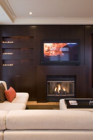 Contemporary Living Room with Fireplace, Crown molding, specialty window, Sectional sofa, six panel door, insert fireplace