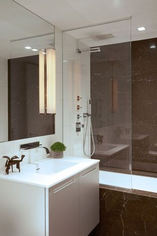 Contemporary Full Bathroom with Axor starck organic porter unit, tiled wall showerbath, Restoration hardware pierce sconce