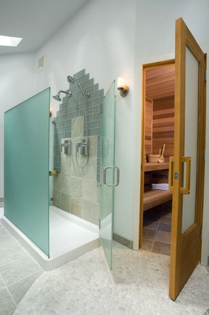 Contemporary Master Bathroom with Feather River Doors Privacy Woodgrain 1 Lite Unfinished Pine Interior Door Slab, Sauna