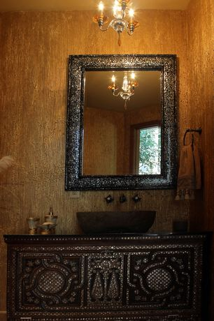 Eclectic Powder Room with Crystorama Winslow 3 Light Mini Chandelier, wallpaper, Deco Metallic Tile Rectangle Mirror in Black