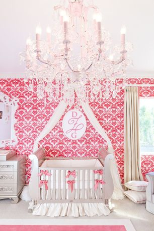 Traditional Kids Bedroom with specialty window, no bedroom feature, Chandelier, interior wallpaper, Carpet, Standard height
