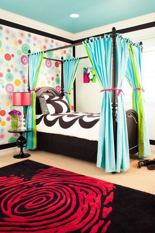 Contemporary Kids Bedroom with Standard height, can lights, interior wallpaper, Crown molding, Painted ceiling, Paint, Carpet