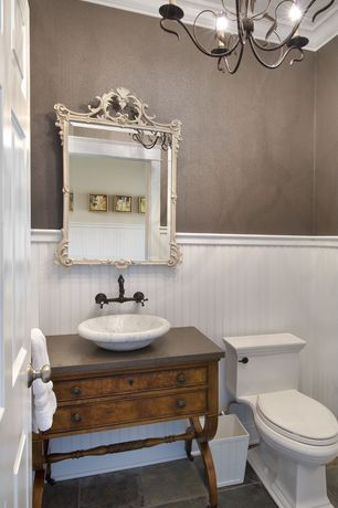Traditional Powder Room with Ms international hampshire 12 in. x 12 in. gauged slate floor and wall tile, Inset cabinets