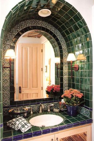 Eclectic Powder Room with specialty door, Undermount sink, Green toledo 2 mexican tile, Large Ceramic Tile, Raised panel