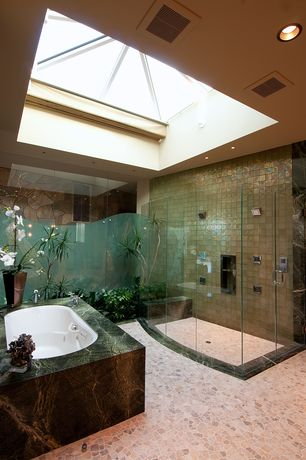 Contemporary Master Bathroom with Daltile Cristallo Select Peridot Ceramic Tile