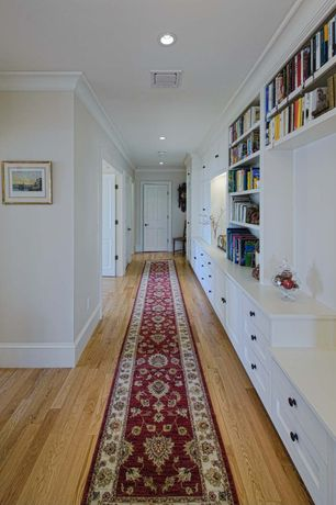 Traditional Hallway with Northern Red Oak - Natural 3 in. Engineered Hardwood Plank, Hardwood floors, Built-in bookshelf