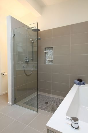 Contemporary Master Bathroom with 12 in. x 24 in. glazed porcelain floor and wall tile, Handheld showerhead, Shower, Paint 1