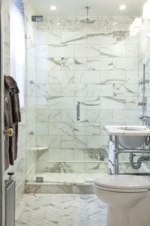 Traditional 3/4 Bathroom with Wall sconce, White carrara marble chevron mosaic polished, Console sink, Simple marble counters
