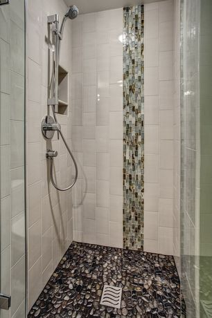 Contemporary Master Bathroom with frameless showerdoor, flush light, Ceramic tile trends - subway tile / white