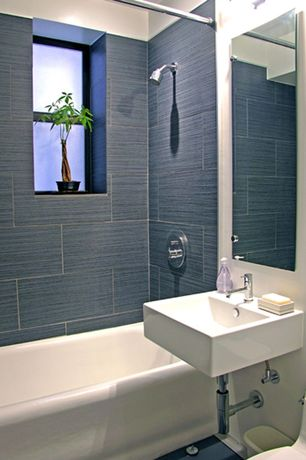 Contemporary Full Bathroom with Ms international metro gris 12 in. x 24 in. glazed porcelain floor and wall tile