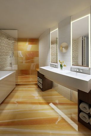 Contemporary Master Bathroom with Undermount sink, Handheld showerhead, Limestone counters, Double sink, Rain shower