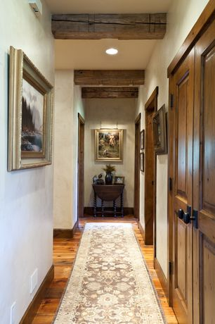 Traditional Hallway with Hardwood floors, High ceiling, Exposed beam, can lights, French doors