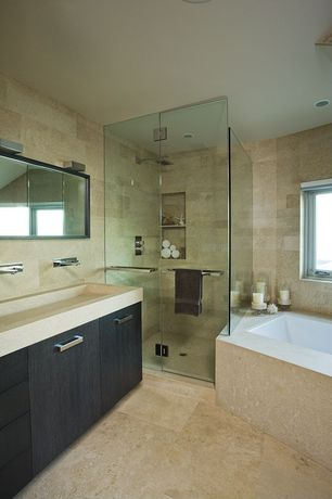 Contemporary Master Bathroom with travertine tile floors, Custom vanity, travertine tile showerbath, Custom trough sink