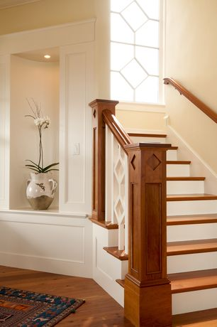 Traditional Staircase with Hardwood floors, High ceiling, Pottery barn medium tuscan double handed urn