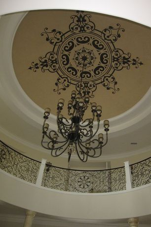 Mediterranean Entryway with Custom wrought iron railing, Sanguesa 22 Light Chandelier by Metropolitan by Minka, Paint1
