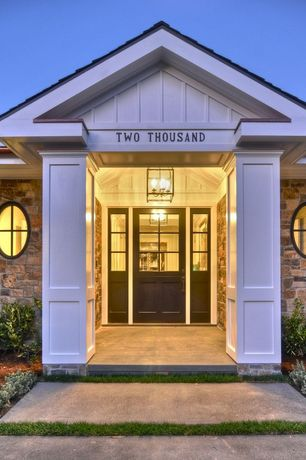 Contemporary Front Door with exterior stone floors, Glass panel door, specialty window