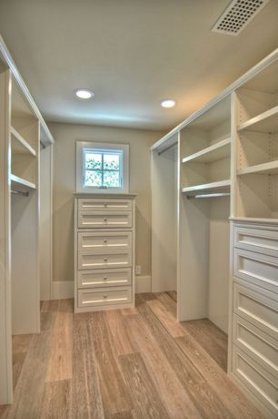 Contemporary Closet with Built-in bookshelf, can lights, Hardwood floors, Paint, Custom walk-in closet, Paint 1, Casement
