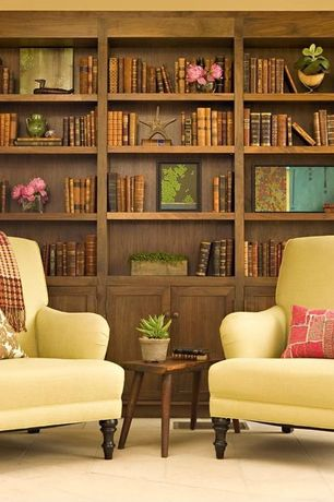 Contemporary Living Room with Pottery barn carlisle upholstered armchair, Ion design vintage side table, Custom bookshelf