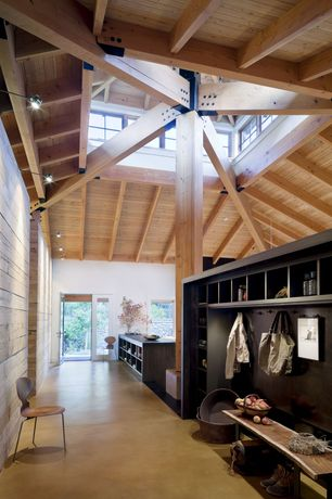 Contemporary Hallway with Cathedral ceiling, Mudroom, bedroom reading light, Concrete floors, Exposed beam, Columns