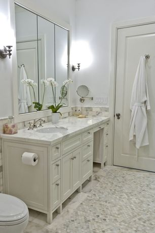 Traditional Full Bathroom with Nearly natural cymbidium w/white vase silk flower arrangement, Undermount sink, Inset cabinets