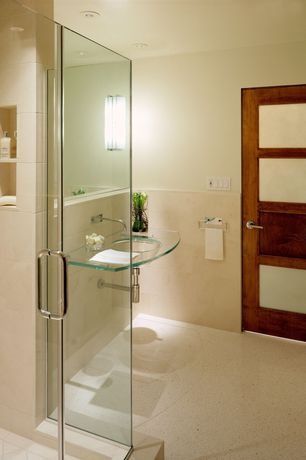 Contemporary 3/4 Bathroom with three quarter bath, Carpet, can lights, Wall Tiles, French doors, Wall sconce, Shower