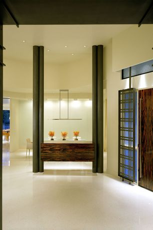 Contemporary Entryway with Concrete floors, can lights, Transom window, Columns, flat door, High ceiling, picture window