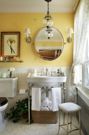 Traditional Full Bathroom with penny tile floors, Tile, Simple marble counters, Chandelier, Console sink, Simple Marble