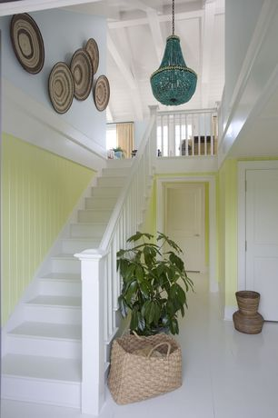 Eclectic Entryway with Basket hamper, Beaded chandelier, Painted newel, Exposed beam ceiling, Paint 1, Indoor plant, Paint 2
