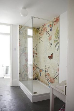 Contemporary Master Bathroom with Glass panel
