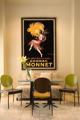 Contemporary Dining Room with Leonetto Cappiello Cognac Monnet Vintage Ad Art Print Poster, High ceiling