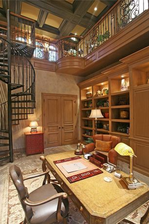 Traditional Home Office with Exposed beam, can lights, High ceiling, Carpet, Built-in bookshelf, Loft, six panel door