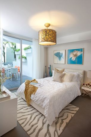 Contemporary Guest Bedroom with Modern Woven Rattan Ceiling Light, flush light, Concrete floors