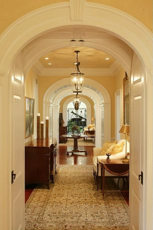 Traditional Hallway with French doors, Crown molding, Chandelier, can lights, High ceiling, Laminate floors