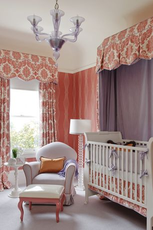 Contemporary Kids Bedroom with Fisher-Price Charlotte 4-in-1 Crib, Sleigh crib, Chandelier, Wallpaper, Carpet