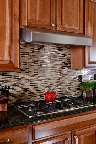 Modern Kitchen with Simple granite counters, Daltile caramel travertino random mosaic blend sa58, Mosaic tile backsplash