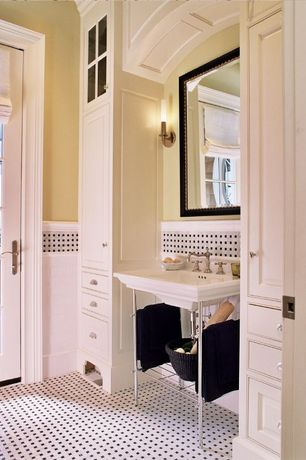 Traditional Powder Room with Natural light, Roman shades, Glass panel, Wainscoting, ceramic tile floors, French doors