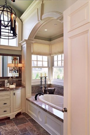 Traditional Full Bathroom with Complex marble counters, Complex Marble, Undermount sink, Master bathroom, Pendant light