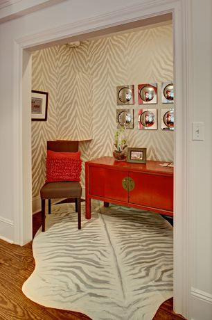 Eclectic Entryway with Wuchow three drawer file console, 3-drawer consol, antique red, Crown molding, Hardwood floors