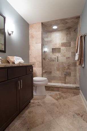 Contemporary 3/4 Bathroom with Standard height, Complex Granite, Complex granite counters, Framed Partial Panel, Wall sconce