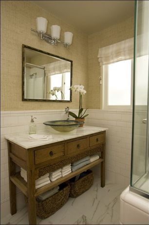 Traditional 3/4 Bathroom with Vessel sink, Beige Gr73459 Grass Wallpaper By Warner, Simple marble counters, Inset cabinets
