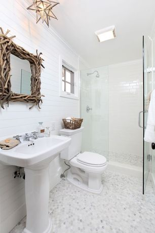 Cottage 3/4 Bathroom with Shades of light rectangular driftwood mirror, Paint, Pental subway tile, ivory, 3x6