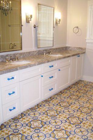 Contemporary Full Bathroom with Stonemark Granite - Granite Slab in Bianco Antico, Flat panel cabinets, Standard height