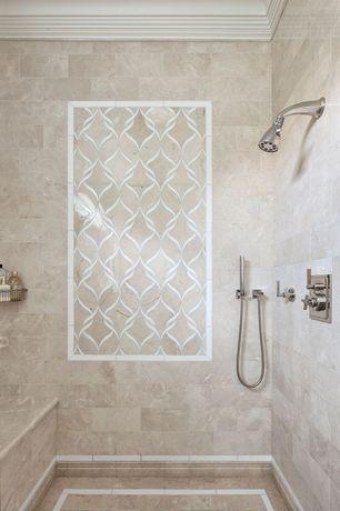 Contemporary Master Bathroom with Daltile arctic gray limestone