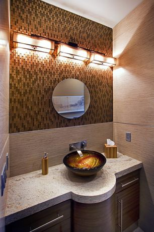Contemporary Powder Room with Vessel sink, High ceiling, Kraus titania glass vessel sink, Powder room, Flush, Ceramic Tile